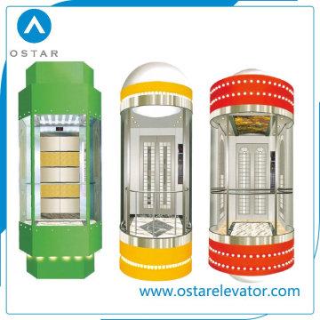Cabine panoramique en verre pour ascenseur de passagers d'observation, pièces d'ascenseur (OS41)