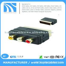 RGB Scart para 3 AV RCA Audio Video TV Converter Adapter