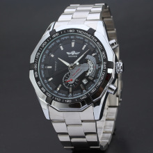 winner multi function watch with stainless steel band for men