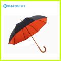 Mango curvo de madera recta Manual abierto paraguas de golf