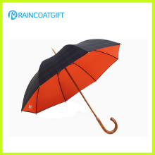 Straight Wooden Curved Handle Manual Open Golf Umbrella