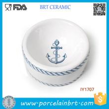 Venda quente Da Marinha Estilo Azul Cerâmica Pet Bowl Pet Acessórios