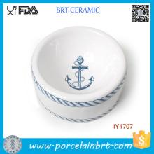 Accesorios calientes del animal doméstico del tazón de fuente del animal doméstico del azul del estilo de la marina de guerra