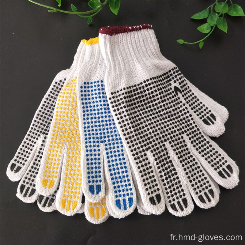 Gants de main à pois blancs blanchis