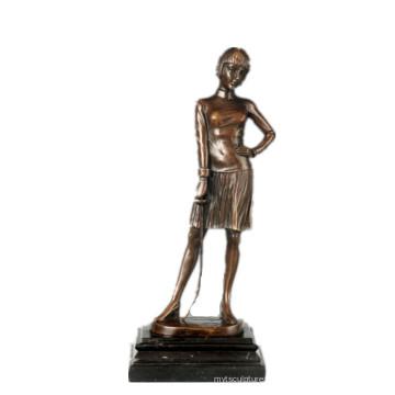 Женская фигура ручной Фехтовальщица Коллекция бронзы скульптура Латунь статуэтка ТПЭ-755