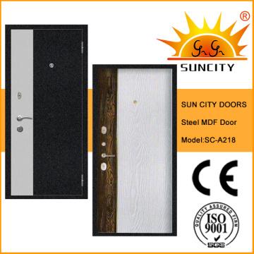 Горячие новые МДФ внутри древесного материала стальная дверь (СК-A218)