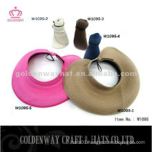 fashion Paper Straw Lady Hat foldable sun visor hats