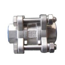 Válvula de retenção em aço inoxidável de 3 peças em linha