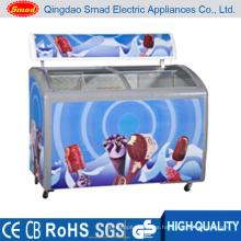 138L / 226L / 286L / 298/378 / 538L Congelador de cristal curvado del pecho del helado de la puerta