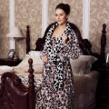 Luxury Leopoard Printed Large Ladies' Fleece Bathrobe