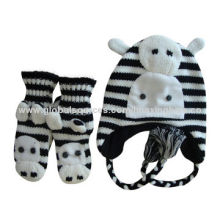Animal hats with micro-soft fleece lining for winter, cow design