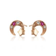 23229 xuping beauty rose color oro estrella y luna zircon sintético damas pendientes