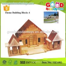 Los niños de madera de goma de 326pcs juegan grandes bloques huecos