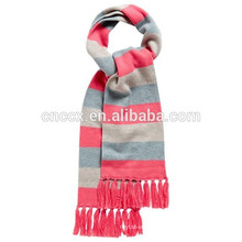 15STC2015 striped knitted cashmere scarf