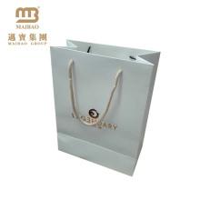 Laminierte kleine Carry Packaging Custom Berühmte Marke White Wedding Geschenk Papiertüten mit Griffen
