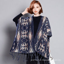Mulheres fashion viscose acrílico malha inverno franja xaile (yky4527)