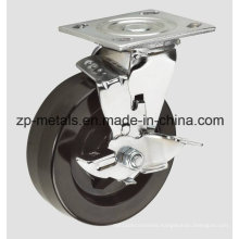 4inch Heavy-Duty Iron Rubber with Brake Caster Wheel