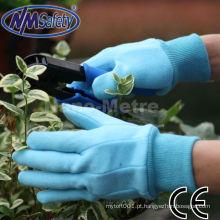 Luvas de proteção de mão de jardim de algodão azul NMSAFETY