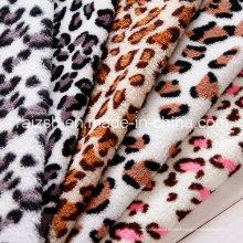 Tissus en laine polie imprimée léopard pour gros