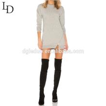 Neuer Design grauer Longline Pullover mit Kapuze für Frauen mit Reißverschluss