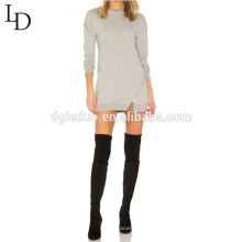 Новый дизайн серый длинный пуловер толстовка для женщин с молнией