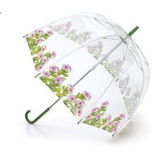 Manual Open Flower Printing Transparent Straight Umbrella (BD-39)