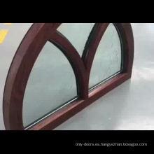 Ventana de arco de madera de roble rojo aluminio arqueado fijo espejo de cristal ventana de diseño ventana