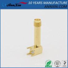 Connecteur de soudure femelle à filetage long à angle droit SMA plaqué à angle droit avec adaptateur de réceptacle de carte PCB