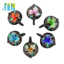 MC0043 3D Blume Herz Lampwork Glas Anhänger handgemachte Halskette Anhänger Halsketten