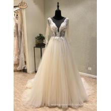 Manches longues perles dentelle robes de mariée de soirée