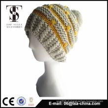 100% acrylique jacquard design hiver tricoté chapeau beanie pour fille