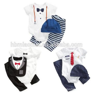 2017 summer infant romper for boy hot sell short sleeve gentlemen baby romper 3pcs set baby boy romper wholesale