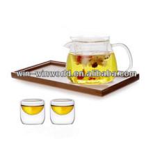 Ensemble de cruche et tasse en verre à liqueur fabriqué à la main de borosilicate