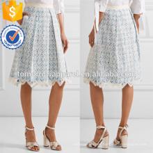 Azul y blanco de encaje y algodón guingano algodón con volantes midi falda de verano Fabricación venta al por mayor de prendas de vestir de las mujeres (TA0030S)