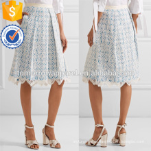 Blue And White Lace And Gingham Cotton-Blend Ruffled Midi Summer Skirt Manufacture Wholesale Fashion Women Apparel (TA0030S)