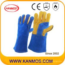 Тонкая синяя корова сплит-кожа Промышленная безопасность Сварочные перчатки (11109)