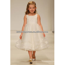 HF2171 Elegant ivory lace appliqued gathered band jewel neck sleeveless tiered organza latest dress designs for flower girls