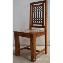 Solid Mango Wood Iron Jali Chair