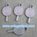 Drop Pink & Blue Oil Wholesale Lollypop Metal Bead Pendants
