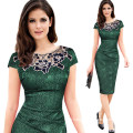 Woman Hollow out Embroidery Channeled Pencil Bodycon Dress Evening Party