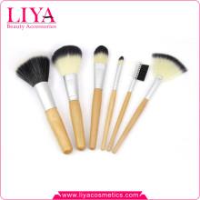 Pinceaux de maquillage de professionnel manche bois 6 pièces meilleur vendeur ensemble