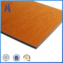 Guter Preis Feuerfeste Aluminium Verbundplatte Holzfarbe