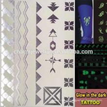 OEM Großhandel Glühen in der dunklen Tattoo Mode Marken leuchtende tatoo temporäre Tätowierungen Aufkleber für Erwachsene GLIS005