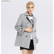 Autumn and Winter Gray Solid Color Woolen Coat Lapel Wool Breasted Thin Female Long Women Coat