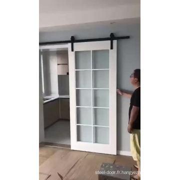 Fabriqué en porte de grange en verre coulissante en bois de Chine
