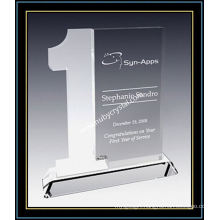 "Year of Service Award Plaque Frosted Crystal 8"" H (NU-CW696)"