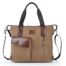 Retro Unisex Vintage Canvas Leather Cross Body Messenger Shoulder Bag 17.5 Inch Tote Laptop Case Travel Netbook Briefcase