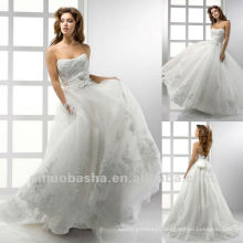 Princess Ball Gown Sash Applique Floor Length Handmade Flower Wedding Dress Bridal Gown