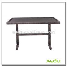 Mesa de jantar de aço inoxidável, mesa de jantar de Rattan em forma de retângulo