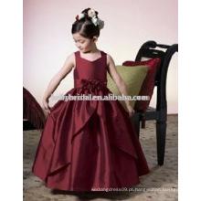 Vermelho escuro com flores artesanais vestidos infantis meninas flor menina vestidos 1035